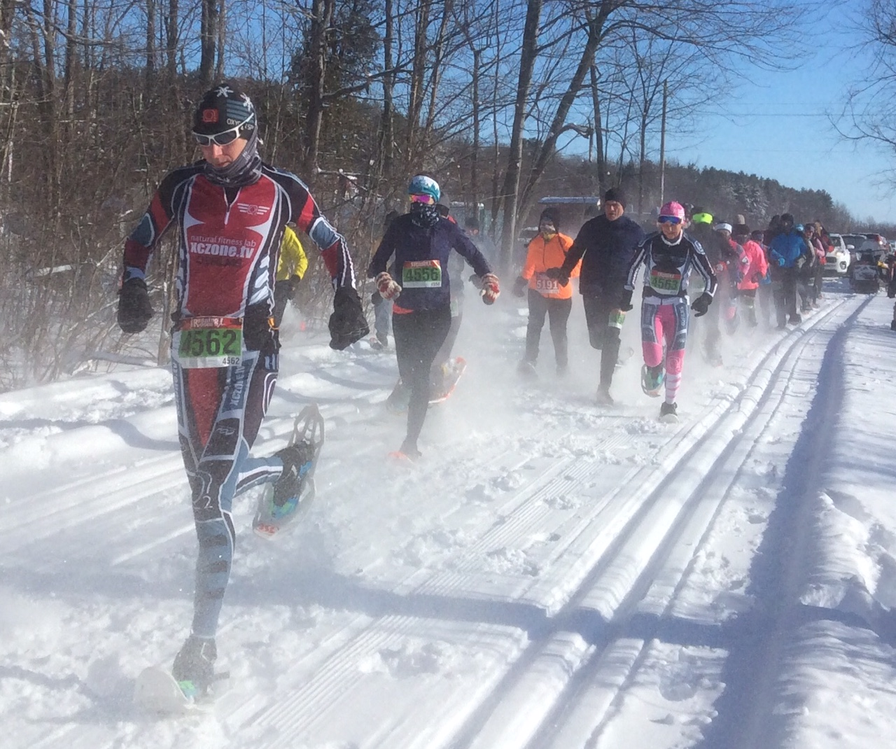 Image depicts a number of participants that entered the 7th Annual Summerstown Snowshoe Race