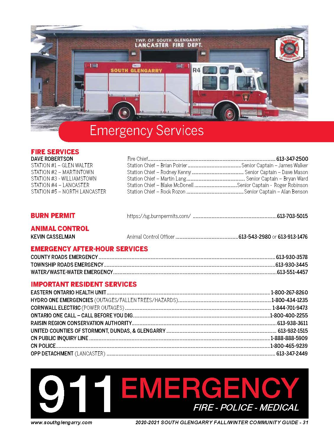 Image depicts a fire truck of the South Glengarry Fire Services as well as a list of Emergency Service Numbers detailed below.