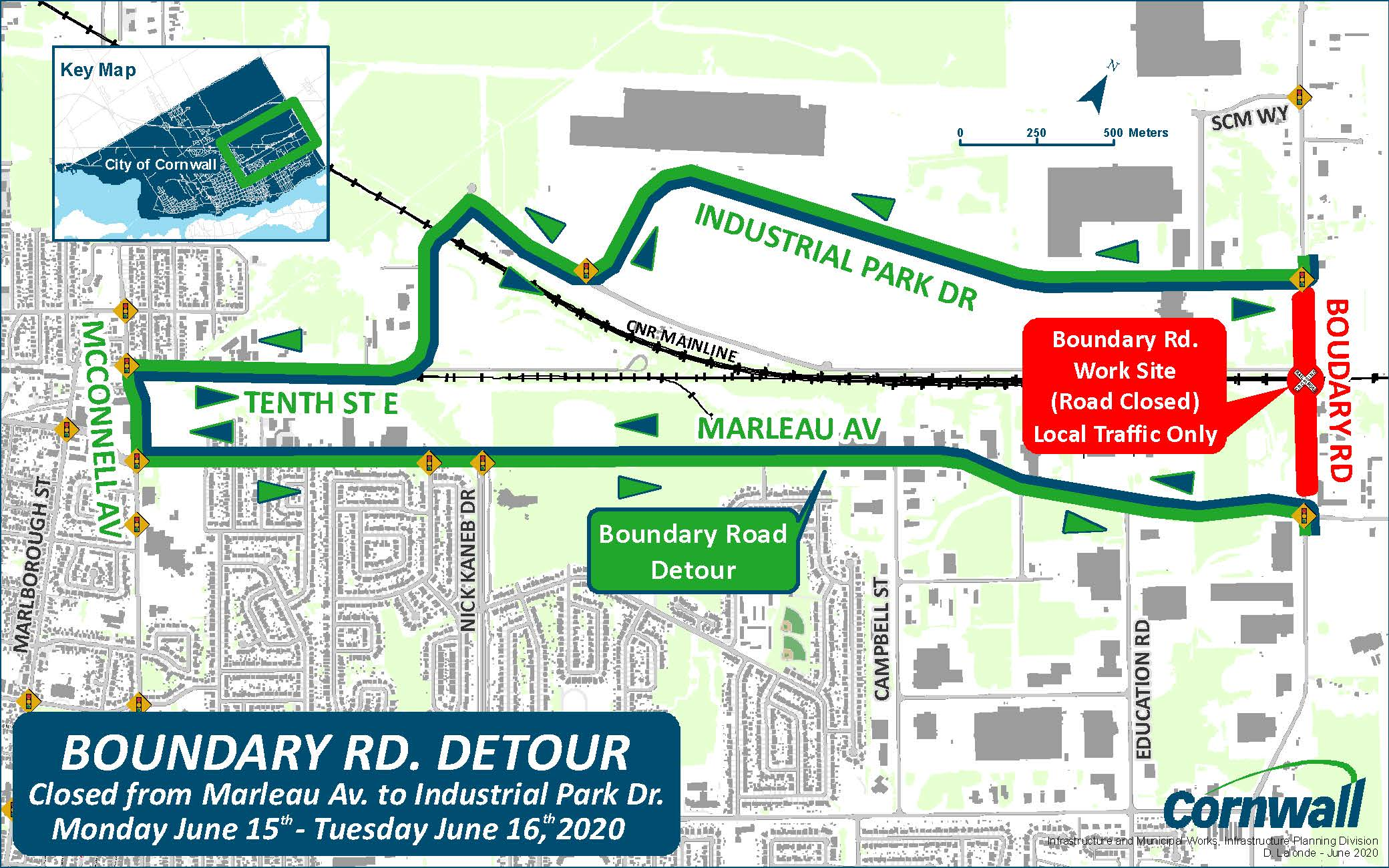 Image of map with section of Boundary road closed for repairs to CN Tracks