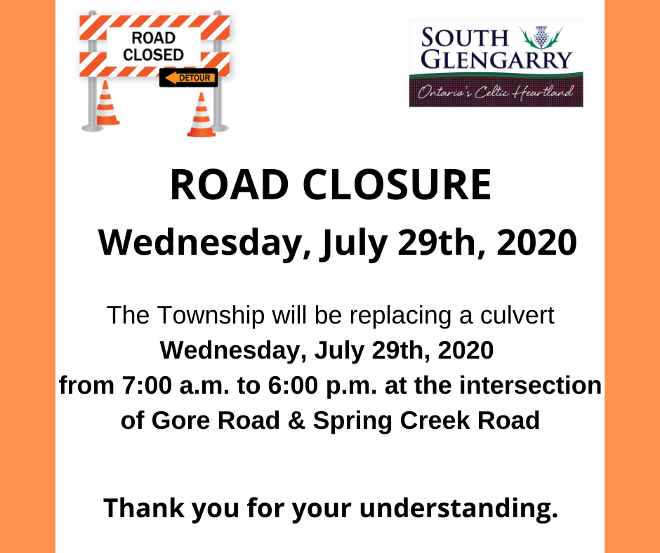 Image depicts construction organge colours with information regarding an upcoming road closure between Gore and Spring Creek Road
