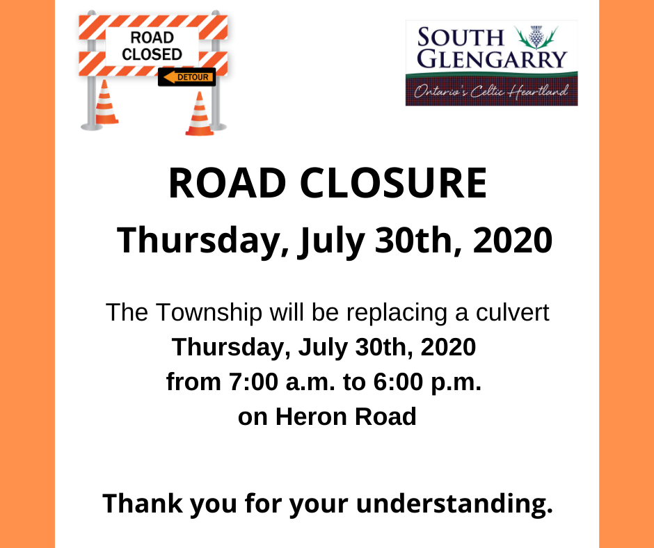 Image depicts construction organge colours with information regarding an upcoming road closure on Heron Road