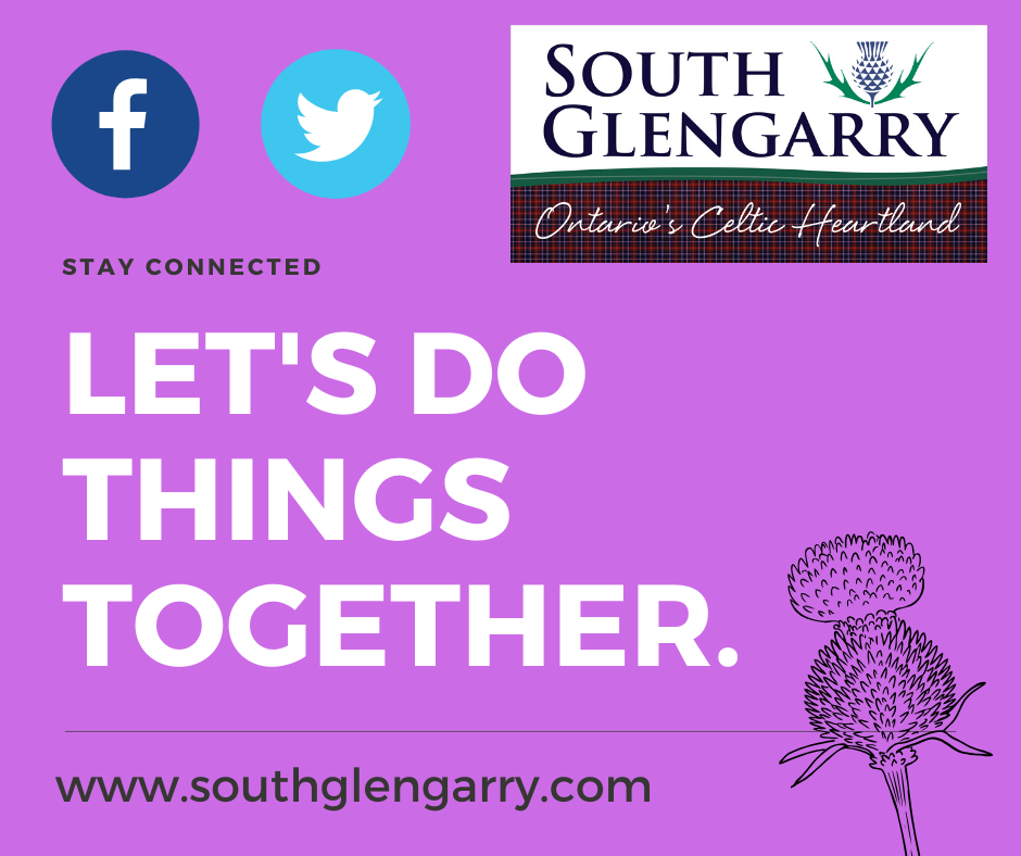 Purple background with text reading Lets Do Things Together followed by the facebook and twitter logos to ask residents to follow our pages