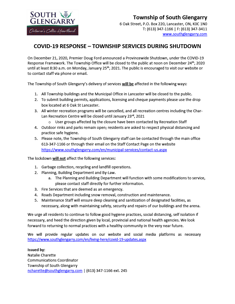 COVID-19 Response - Township Services During Shutdown